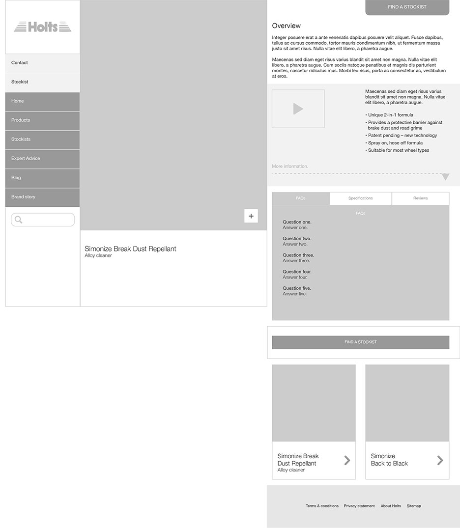 Holt Lloyd hero product wireframe